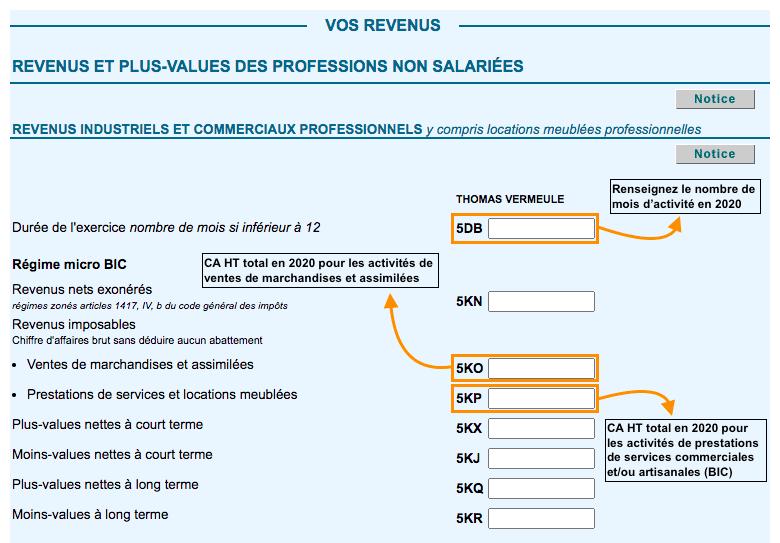 Déclaration impot auto-entrepreneur 2021 sans VFL BIC